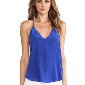 NEW • Rory Beca • Polka Silk Tank Top Blue Medium